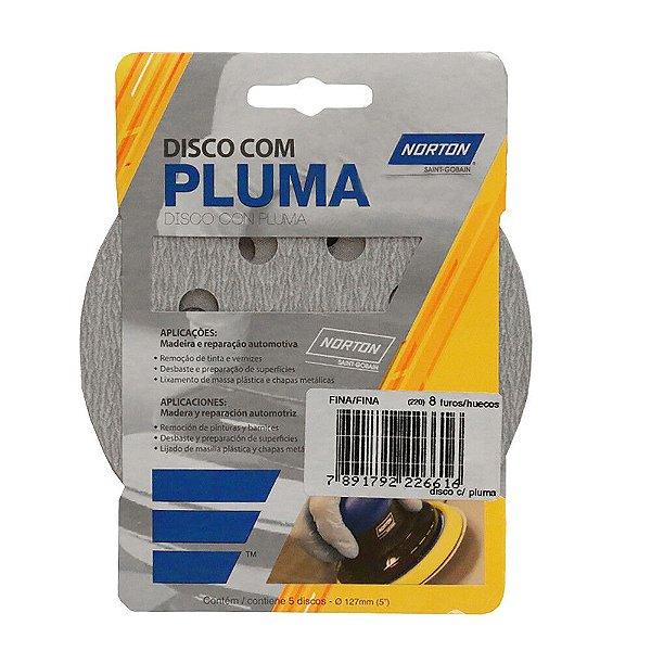 Caixa com 20 Kit Disco de Lixa Pluma A219 com 8 Furos Grão 220 5 Pçs 127 mm