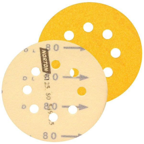 Caixa com 20 Kit Disco de Lixa Pluma G125 Adalox Papel Grão 80 127 mm
