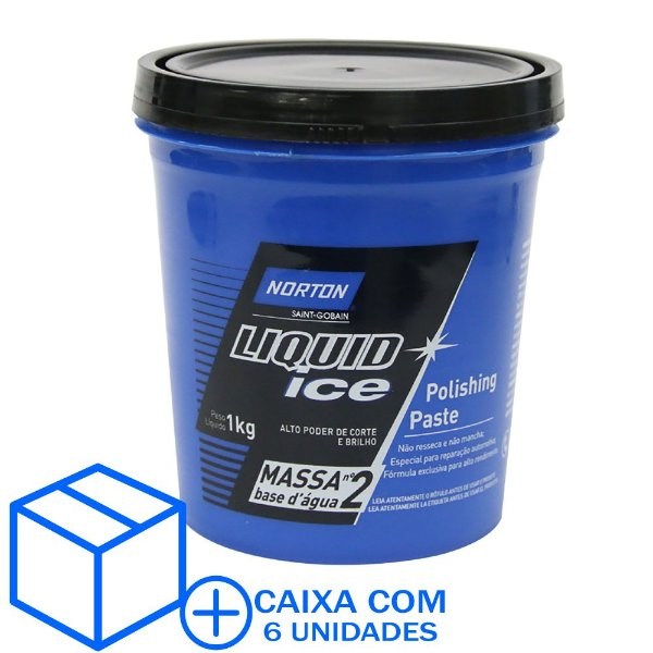 Caixa com 6 Massa de Polir Liquid Ice Nº2 Base D'Água 1 Kg