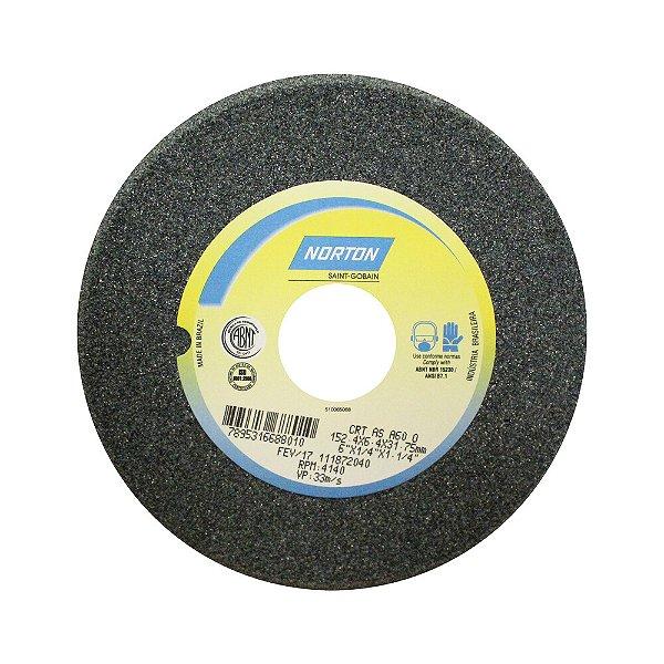 Caixa com 5 Rebolo Afiação de Serras Óxido de Alumínio Cinza Chanfrado 152,40 x 6,40 x 31,75 mm A60O5VC1