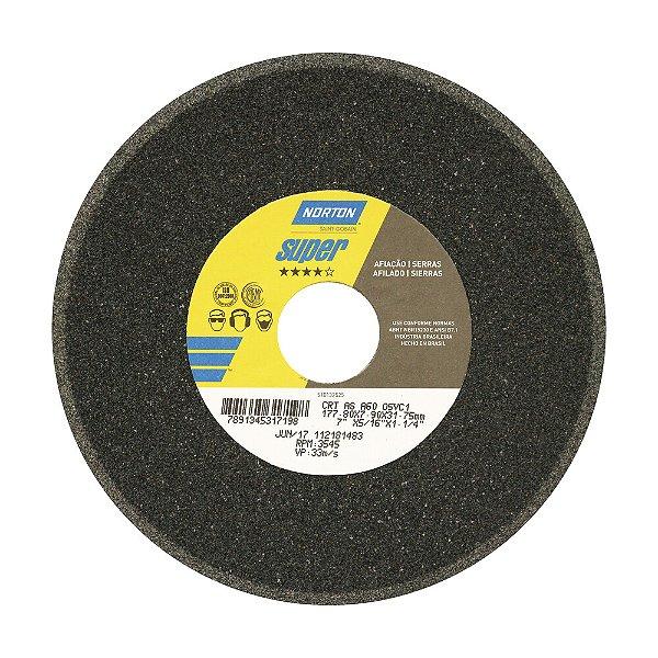 Caixa com 5 Rebolo Afiação de Serras Óxido de Alumínio Cinza Chanfrado 177,80 x 7,90 x 31,75 mm A60O5VC1