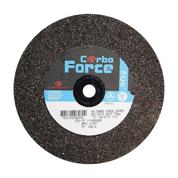Rebolo Carbo Force Afiação e Rebarbação Aços e Materiais Ferrosos Reto 152,4 x 19 x 31,75 mm A24R5V50W Caixa com 10