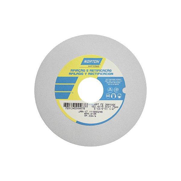 Caixa com 3 Rebolo Afiação e Retíficação Óxido de Alumínio Branco Reto 152,4 x 19,0 x 31,75 mm ART FE 38A100K