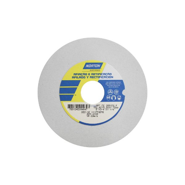 Caixa com 3 Rebolo Afiação e Retíficação Óxido de Alumínio Branco Reto 152,4 x 19,0 x 31,75 mm ART FE 38A120K
