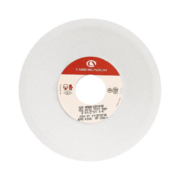 Caixa com 20 Rebolo Ferramentaria Óxido de Alumínio Branco Prato 152,4 x 12,7 x 31,75 mm 12A AA60 K8V40W