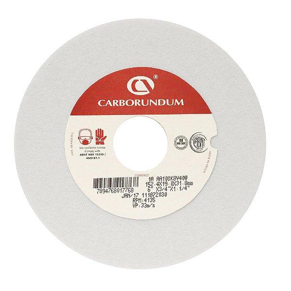 Rebolo Ferramentaria Óxido de Alumínio Branco Reto 152,4 x 19,0 x 31,75 mm 1A AA100 K8V40W Caixa com 10