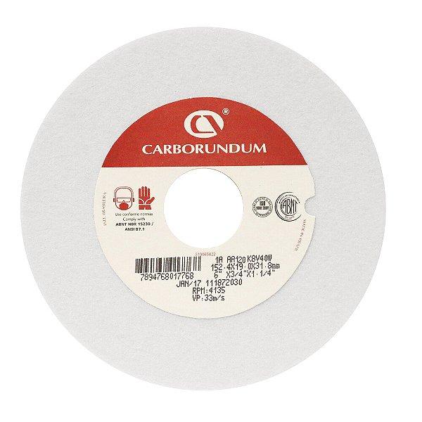Caixa com 10 Rebolo Ferramentaria Óxido de Alumínio Branco Reto 152,4 x 19,0 x 31,75 mm 1A AA120 K8V40W