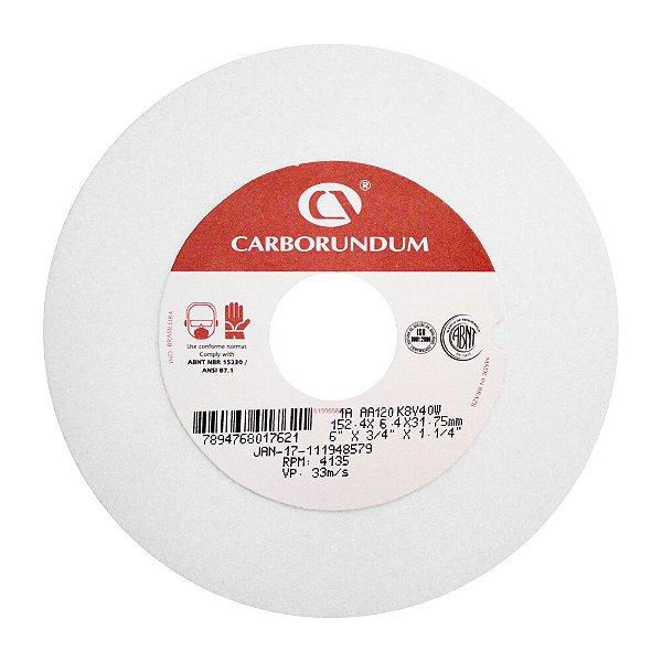 Caixa com 20 Rebolo Ferramentaria Óxido de Alumínio Branco Reto 152,4 x 6,4 x 31,75 mm 1A AA120 K8V40W