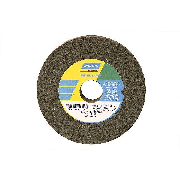 Rebolo Metal Duro Carberto de Silício Verde Reto 152,4 x 25,4 x 31,75 mm ART FE 39C100K Caixa com 3