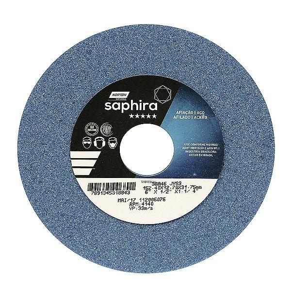 Caixa com 3 Rebolo Saphira Ferramentaria Premium Óxido de Alumínio Cerâmico Reto 152,40 x 12,70 x 31,75 mm 38A46JVS3