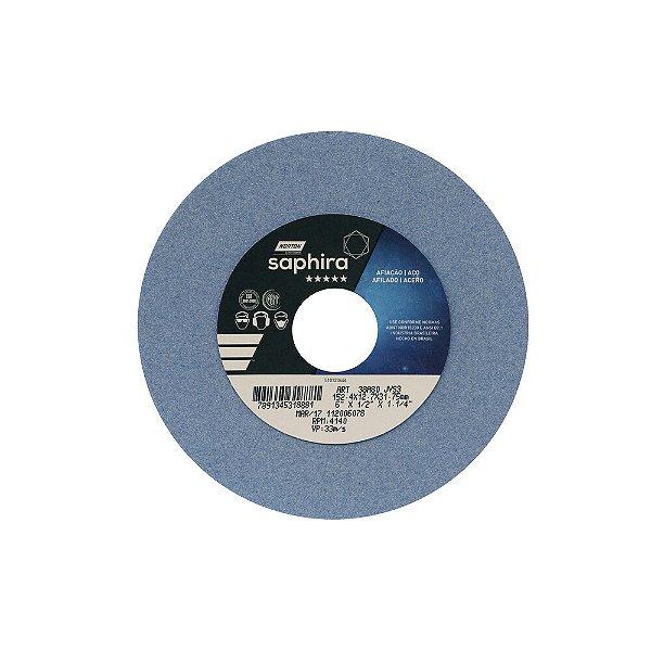 Caixa com 3 Rebolo Saphira Ferramentaria Premium Óxido de Alumínio Cerâmico Reto 152,40 x 12,70 x 31,75 mm 38A80JVS3