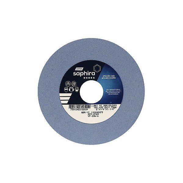 Caixa com 3 Rebolo Saphira Ferramentaria Premium Óxido de Alumínio Cerâmico Reto 152,40 x 6,40 x 31,75 mm 38A100JVS3
