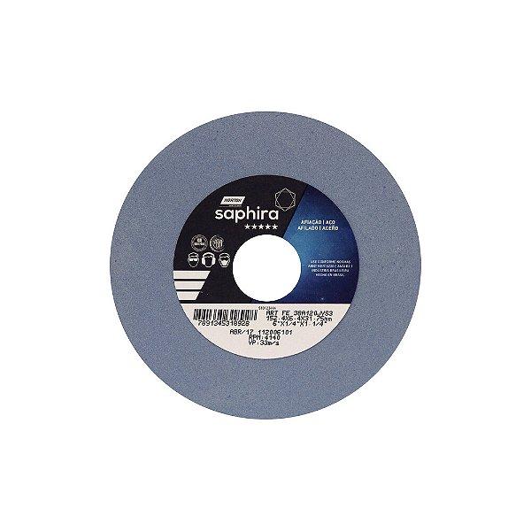 Caixa com 3 Rebolo Saphira Ferramentaria Premium Óxido de Alumínio Cerâmico Reto 152,40 x 6,40 x 31,75 mm 38A120JVS3
