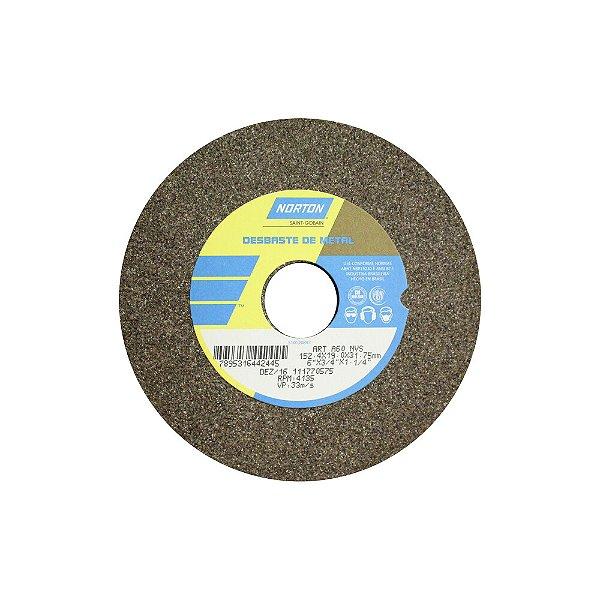 Caixa com 3 Rebolo Uso Geral Desbaste de Metal Óxido de Alumínio Marrom Reto 152,4 x 19,0 x 31,75 mm ART A60 NVS