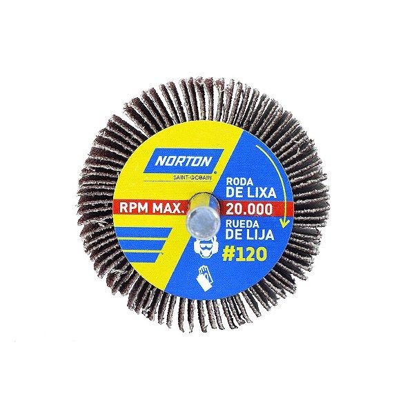 Caixa com 24 Roda de Lixa Flap PG Mini Kontour MK com Haste R319 Grão 120 50 x 25 mm