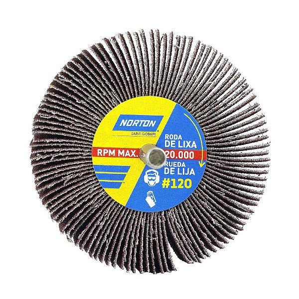 Caixa com 12 Roda de Lixa Flap PG Mini Kontour MK com Haste R319 Grão 120 75 x 25 mm