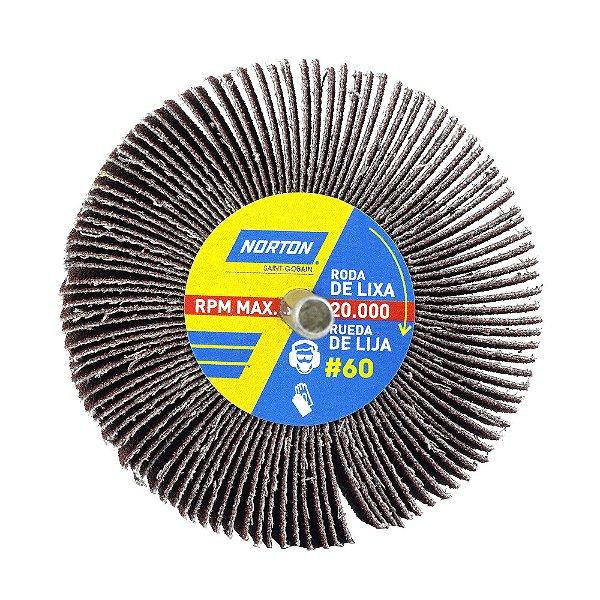 Caixa com 12 Roda de Lixa Flap PG Mini Kontour MK com Haste R319 Grão 60 75 x 25 mm