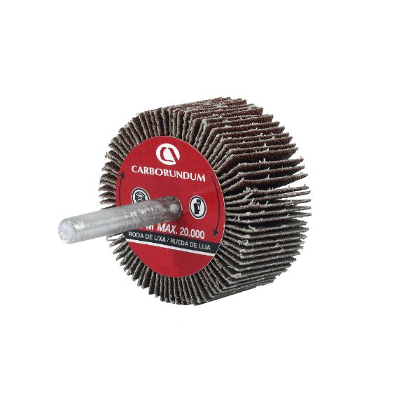 Roda de Lixa Flap PG Mini Kontour MK com Haste CARBO Grão 60 50 x 25 mm Caixa com 24