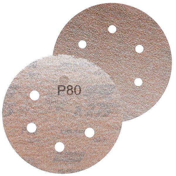 Caixa com 100 Disco de Lixa Pluma A275 Grão 80 152 x 0 x 6 mm