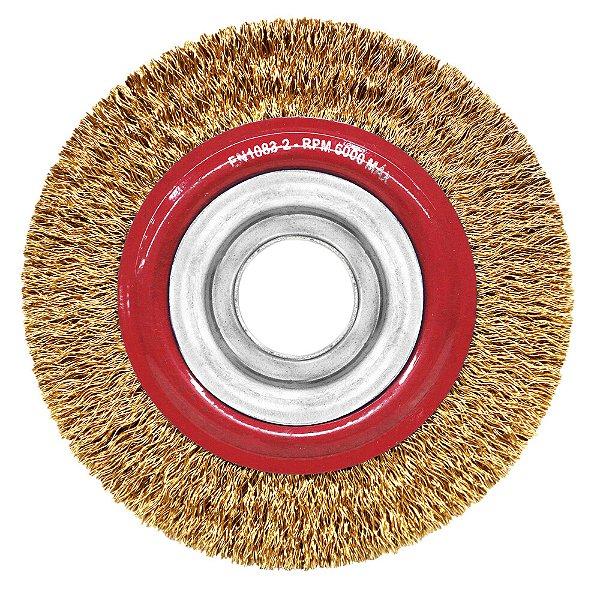 Caixa com 15 Escova de Aço Circular Ondulado Latonado 152,4 x 25,4 mm