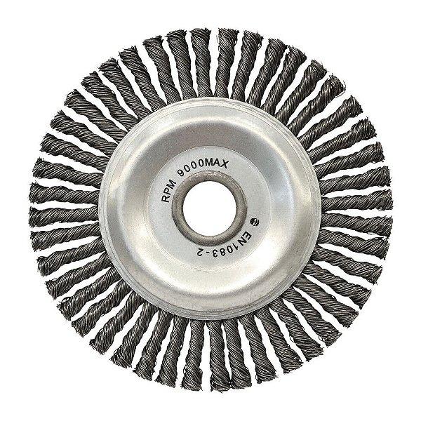 Caixa com 10 Escova de Aço Circular Trançada - Inox 152,4 x 12,7 mm