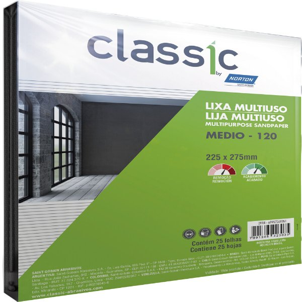 Caixa com 100 Folha de Lixa Multiuso Grão 120 225 x 275 mm