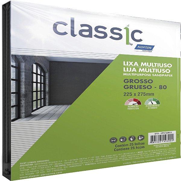 Caixa com 100 Folha de Lixa Multiuso Grão 80 225 x 275 mm