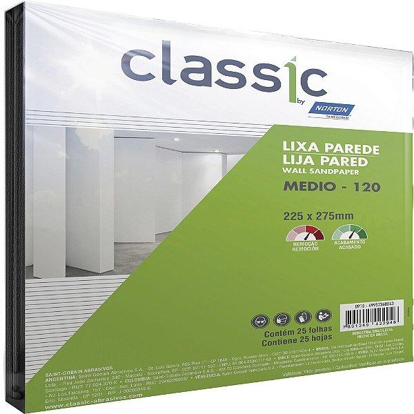 Pacote com 100 Folha de Lixa Parede Grão 120 225 x 275 mm Pacote com 100