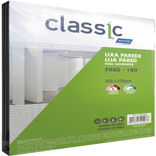 Pacote com 100 Folha de Lixa Parede Grão 180 225 x 275 mm Pacote com 100