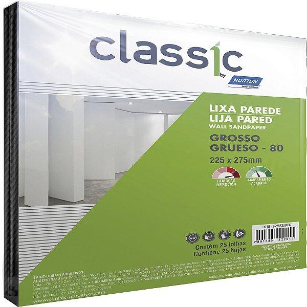 Pacote com 100 Folha de Lixa Parede Grão 80 225 x 275 mm Pacote com 100
