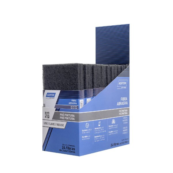 Caixa com 24 Folha Fibra Abrasiva Pré Pintura SSF Cinza 240 x 130 mm