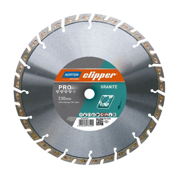 Caixa com 1 Disco de Corte Clipper Diamantado iHD Granite 230 x 22,23 mm