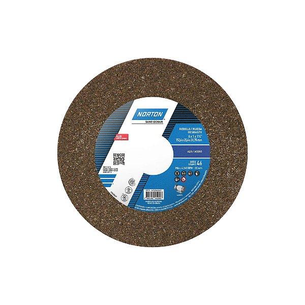 Rebolo Uso Geral Desbaste de Metal Óxido de Alumínio Marrom Reto 152,4 x 25,4 x 31,75 mm ART A46 OVS