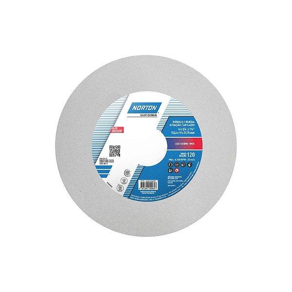 Rebolo Afiação e Retíficação Óxido de Alumínio Branco Reto 152,4 x 19,0 x 31,75 mm ART FE 38A120K