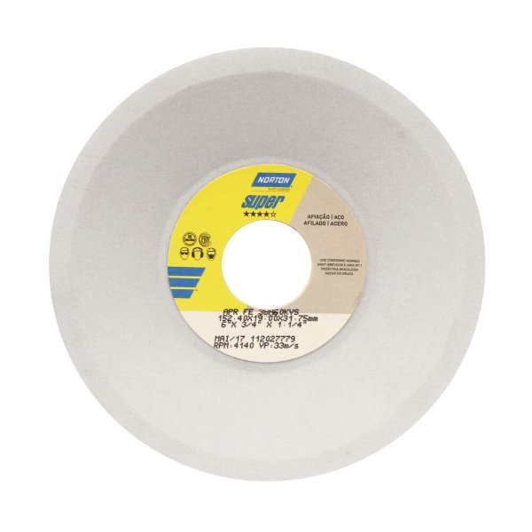 Rebolo Afiação e Retíficação Óxido de Alumínio Branco Prato 152,40 x 19 x 31,75 mm FE 38A60KVS