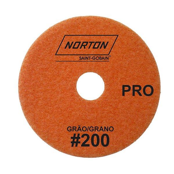 Caixa com 10 Disco de Lixa Diamantada Flexível Brilho D'Água Norton  PRO Grão 200 - 100 x 20 mm