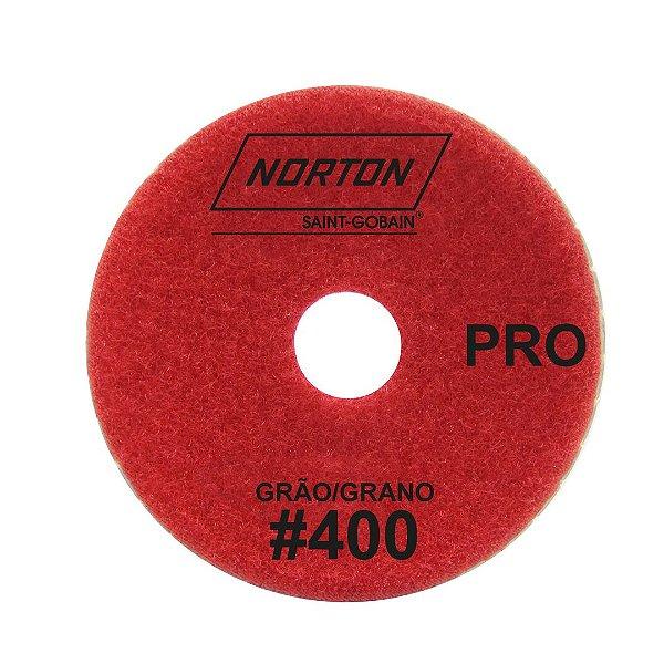 Disco de Lixa Diamantada Flexível Brilho D'Água Norton  PRO Grão 400 - 100 x 20 mm
