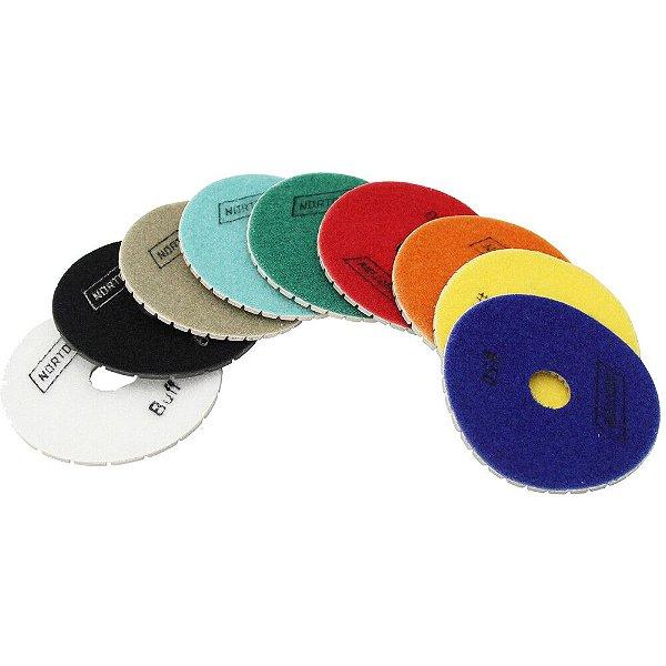 Caixa com 9 Kit Disco de Lixa Diamantada Flexível Brilho D'Água Norton 100 x 20 mm
