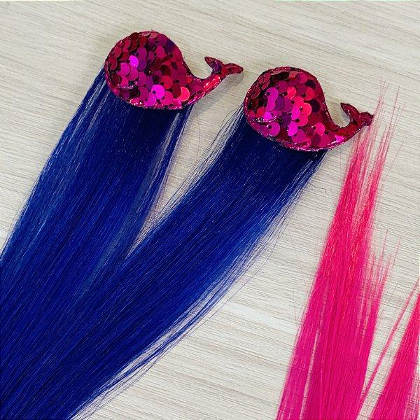 Par cabelo mágico de Sereia Roxo e Pink Baleia Pink