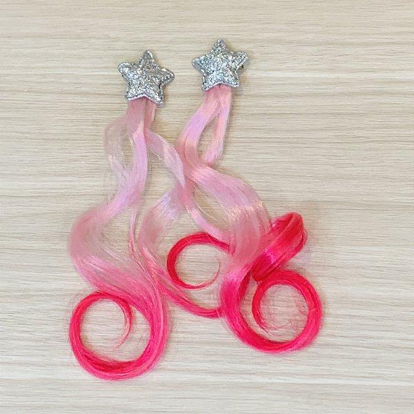 Par Presilha Cabelo rosa e pink Estrela Prata