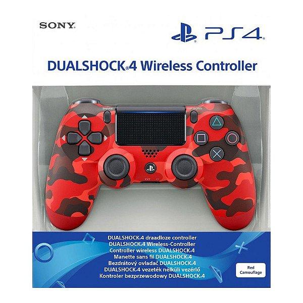 Controle Sem Fio Dualshock 4 Sony Camuflado Red - PS4