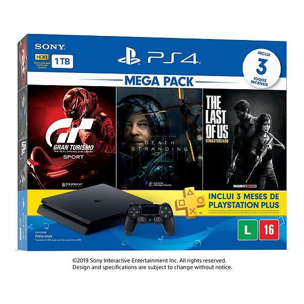 Console PlayStation 4 Hits Bundle Hits Mega Pack 10 - 1TB -  3 Jogos - 3 meses PSN Plus
