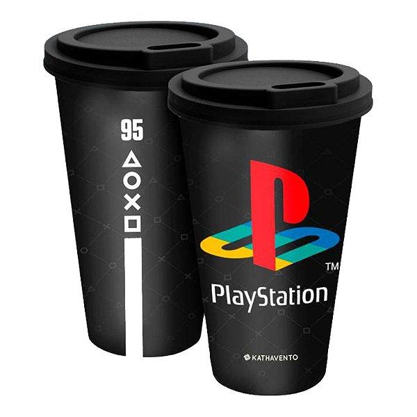 Copo Fun Com Tampa 550ml PlayStation - Gamer - Games