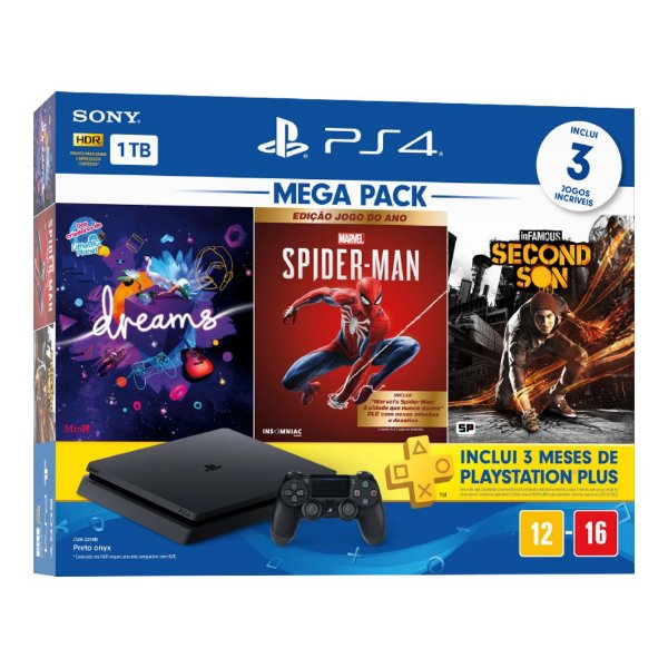Console PlayStation 4 Hits Bundle Hits Mega Pack 17 - 1TB -  3 Jogos - 3 meses PSN Plus