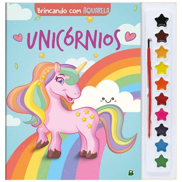 Livro Pintando e Brincando com Aquarela, Unicórnios, Editora TodoLivro