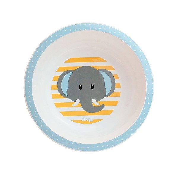 Tigela Pratinho Infantil Elefante cor Azul, Clingo