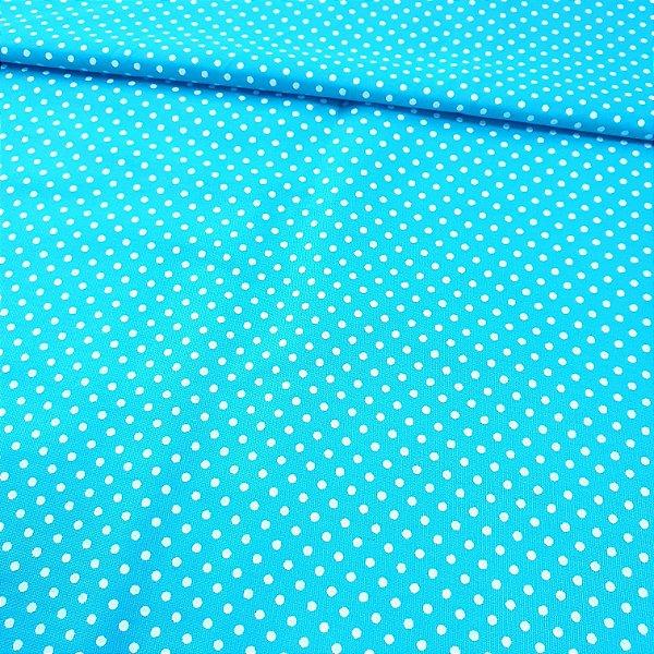 Tecido Tricoline Poá Pequeno Azul Turquesa