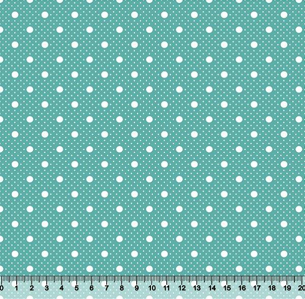 Tecido Tricoline Poá com Poá Branco com Fundo Verde Turquesa Claro 2259-22