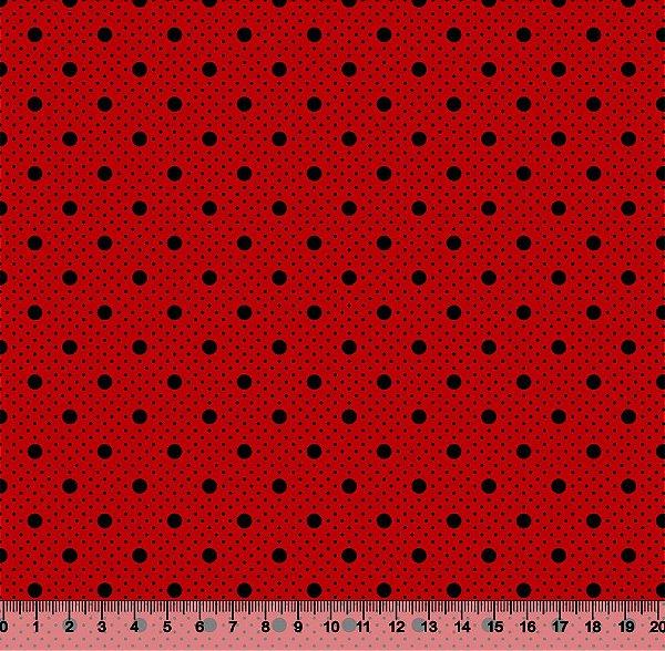 Tecido Tricoline Poá com Poá Preto com Fundo Vermelho 2259-08