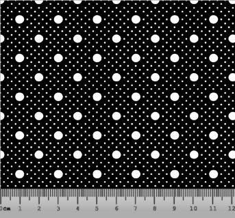 Tecido Tricoline Poá com Poá Branco com Fundo Preto 2259-01
